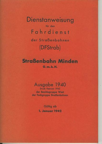 Buch Dienstanweisung für den Fahrdienst der Straßenbahn (DFStrab 1940) REPRINT