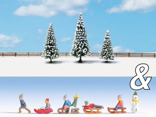 N Set: Kinder im Schnee + Schneetannen NH2020