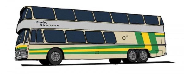 87 Neoplan Skyliner NH 22 DD, silber mit gelb/grün von Starline NH2020(I)