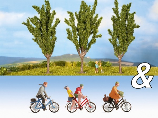 N Set: Fahrradfahrer + Pappeln