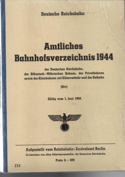 Buch 1944 Amtliches Bahnhofsverzeichnis Deutsche Reichsbahn, Böhmisch-Märischen Bahnen