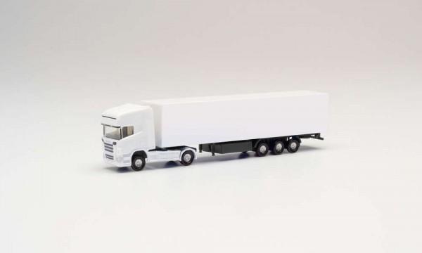 160 Minikit Scania R TL Koffer-Sattelzug, weiß,