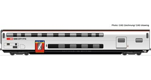 H0 Doppelstockwagen 1. Klasse mit Gepäckabteil, SBB, Ep.6, DC