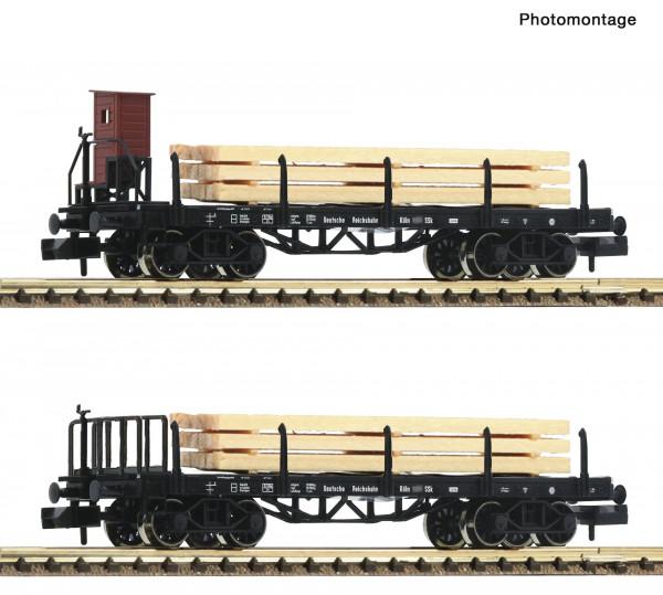 N Rungenwagen-Paar 4-achs. DRG mit Holz